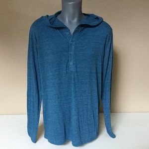 Express Hooded Henley Shirt Large Teal Long Sleeve